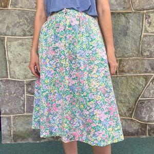 Vintage 1960's spring floral A line skirt